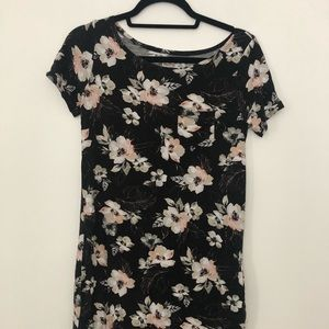 Pink and black floral t-shirt dress